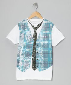 Take a look at this White Faux Vest Plaid Tee - Toddler & Boys by Warrior Poet on #zulily today!