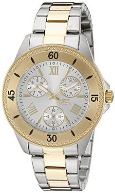 Invicta Women's 21685 Angel Analog Display Quartz Two Tone Watch. 60 Second, Day of The Week and Date Sub dials; 18k Gold Ion-Plated Stainless Steel Bezel; 18k Gold Ion-Plated Stainless Steel Crown; Flame Fusion Crystal. Silver Dial with Gold Tone and White Hands and Gold Tone Hour Markers and Roman Numerals; Luminous; Stainless Steel Case and Bracelet with 18k Gold Ion-Plated Stainless Steel Center Links. Quartz Movement. Case Diameter: 38mm. Water Resistant To 100m (330ft): In General…