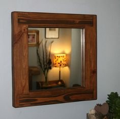 handmade available from Somerset UK #rustic square #mirror with #eco-friendly #solid #wood #frame #Etsy #UK prices from £38, designed by Marc and #handmade by our small team at #MarcWoodJoinery #Somerset #UK #custom sizes on request. #design #country #green #traditional #bedroom #home #living #slow #artisan #style #eco #rustic #industrial  #interiordesign #pale #chunky #grain #knots #house #dining #hall #bathroom #cottage #farmhouse #wooden #ideas #decor #storage #gifts #shop