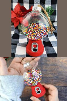 Easy DIY Christmas Ornaments using dollar store items. Gifts for friends, decor, crafts and kids DIY Gumball Machine ornaments. Easy Christmas crafts or DIY gift idea for kids to make. Cute Cheap Christmas tree idea a. Cheap Christmas Trees, Christmas Ornament Crafts, Christmas Crafts For Kids, Diy Christmas Gifts, Simple Christmas, Holiday Crafts, Christmas Decor, Diy Ornaments, Christmas Goodies