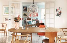 These Inspiring Creative Workspaces Are - The Design Files Woven Dining Chairs, Mismatched Dining Chairs, Upholstered Dining Chairs, Dining Room Furniture, Dining Room Table, Room Chairs, Folding Chairs, Dining Rooms, Living Room On A Budget