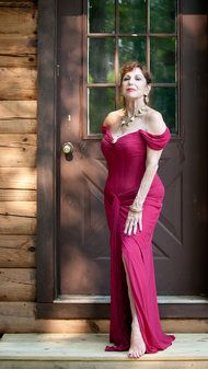 """Vicky Tiel, age 67, is famous for designing 'dressed-to-spill goddess dresses.""""  Her memoir was recently published."""