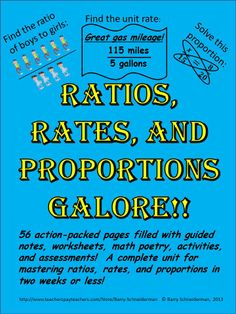 Everything you need to introduce students to ratio, rate, unit rate, and proportion concepts and ensure they understand and retain them! The 56 pages in this $6 product contain a warm-up problem, a guided note-taking page, illustrated math poetry, and a two-page worksheet for each of four different content areas (ratios, rates, proportions, and word problems). The unit concludes with a challenging competition and comprehensive unit assessment.