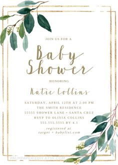 Greenery baby shower ideas, Boho Invitations, Gender neutral, Edit & Print t… Idee Baby Shower, Elegant Baby Shower, Gender Neutral Baby Shower, Baby Shower Themes, Shower Ideas, Printable Baby Shower Invitations, Baby Shower Printables, Baby Boy Invitations, Babyshower Invites