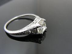 Art Nouveau Platinum and Diamond engraved ring