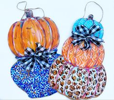 Audra Style fall pumpkin door hangers Pumpkin Door Hanger, Fall Pumpkins, Leather Earrings, Door Hangers, Wearable Art, Earrings Handmade, Original Paintings, Hand Painted, Unique Jewelry