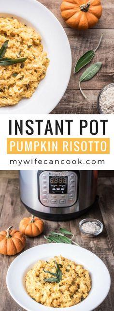 Instant Pot Pumpkin Risotto made with pumpkin puree and sage. #veganrecipes #GlutenFree #dairyfree