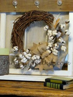 "Cotton Wreath with Feathers, 18"" Country Farmhouse Wreath Cotton and Real Feather Stems with Burlap Bow, Rustic Farmhouse Cotton Wreath"