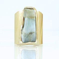 Raw Aquamarine Ring March Birthstone Cocktail Ring