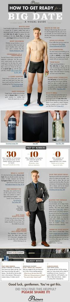 How to Get Ready for a Big Date A Visual Guide is part of Big men fashion - How to get ready for a date Men What to Wear on a Date Getup GuysGude Big Men Fashion, Fashion Mode, Look Fashion, Fashion Tips, Fashion Fall, Fashion Menswear, Men Tips, Men Style Tips, Gentlemens Guide