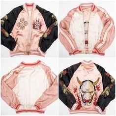 Kawaii Fierce Vintage Japanese Classic Script Punk Rock Hannya Evil Devil Mask Fire Men Skull Skeleton Bones Cobweb Spider Japan Tattoo Art Embroidery Embroidered Pink Bomber Sukajan Souvenir Jacket - Japan Lover Me Store