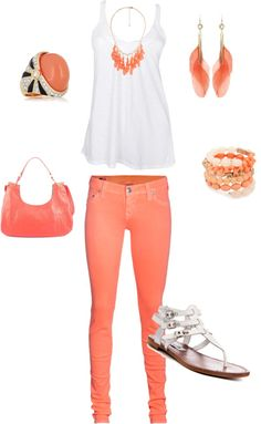 coral coral coral, created by jennasims38 on Polyvore