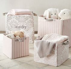 printed canvas storage bins in soft petal and dove. #rhbabyandchild