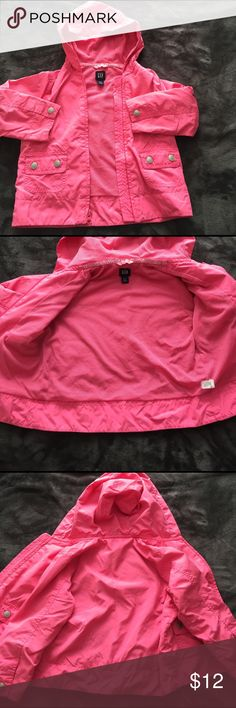 Little girls gap jacket A little girls pink Gap jacket. My daughter used it a couple times. It's in really good condition mesh lining. Just the smallest amount of wear that you can see in the sleeve shown in picture GAP Jackets & Coats Raincoats