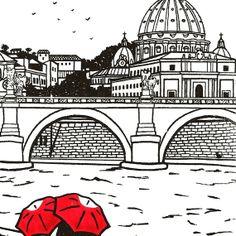Rome Love gocco art print di ArtSharkDesigns su Etsy, $15.00