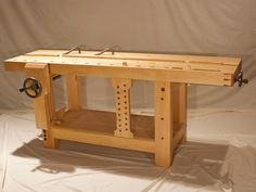 A workbench is a table used by woodworkers to hold workpieces while they are worked by other tools. *** To view further for this article, visit the image link. Woodworking Essentials, Woodworking Ideas To Sell, Woodworking Bench Plans, Woodworking Furniture, Woodworking Tools, Craftsman Workbench, Small Workbench, Workshop Bench, Workshop Ideas
