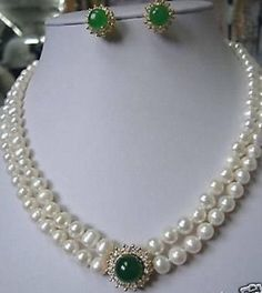 natural pearl jewelry Noblest Pearl necklace green gem earring set Bridal