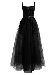 Elie Saab Square-neck Embellished Polka-dot Tulle Gown In Black Floral Evening Dresses, Sequin Evening Dresses, Floral Gown, Floral Dresses, Tulle Ball Gown, Ball Dresses, Ball Gowns, Long Dresses, Long Sequin Dress