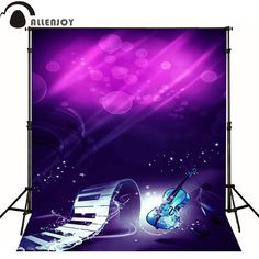 Allenjoy photographic background Dynamic shine purple bubble violin photo backdrops for sale photocall fotografie achtergrond