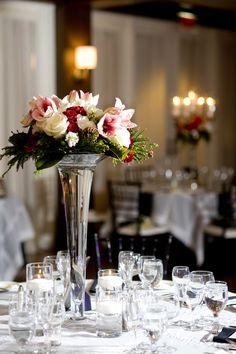 Holiday Wedding Trumpet Vase Centerpiece Ellen Snyder Floral Design                              Jen Mardus Photography