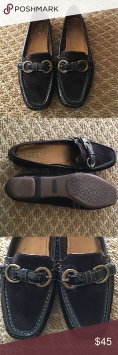 COACH Size 81/2 Like-New Chocolate Brown loafers Chocolate brown suede Coach loafers. Maybe worn once 😀 ...PRICE DROP :) Coach Shoes Flats & Loafers