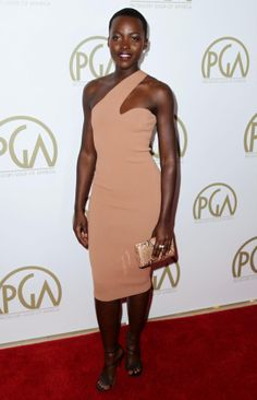 Lupita Nyong'o arrives at the 25th annual Producers Guild of America Awards at the Beverly Hilton Hotel in Beverly Hills, Calif. on Sunday, Jan. 19, 2014.