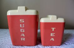 Vintage Plastic Canister, Sugar and Tea Canister, Burrite Canister, Lustro Ware Type Canister Plastic Canisters, Tea Canisters, Canister Sets, Sugar, Type, Tableware, Pink, Handmade, Stuff To Buy