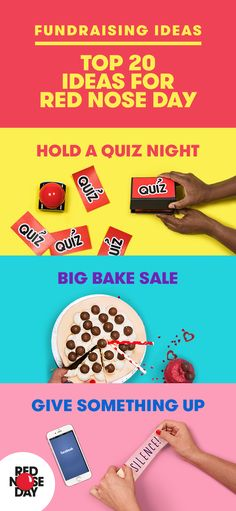 From a quiz nights to bake sales or giving up your favourite treat. There's plenty of ways to fundraise this Red Nose Day. Check out our website for more ideas.