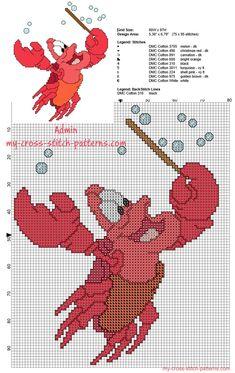 Sebastián patrón de punto de cruz de Disney La Sirenita