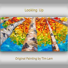 Original abstract Tree art oil painting Autumn forest turqoise sky on gallery wrap canvas Ready to hang by tim Lam 48x24
