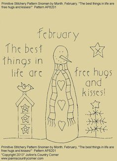 """Primitive Stitchery E-Pattern Rolling Pin Snowman by Month """"February"""",  """"The best things in life are free hugs and kisses."""" on Etsy, $2.00"""