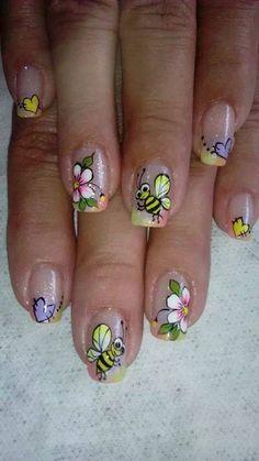 decoracion de uñas Green Nail Designs, Simple Nail Art Designs, Toe Nail Designs, Nail Polish Designs, Spring Nail Art, Spring Nails, Luminous Nails, French Nail Art, Holiday Nail Art