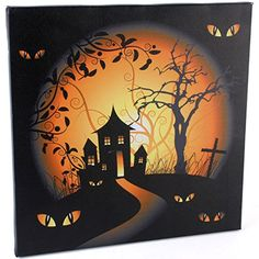 Spooky Halloween illuminated LED canvas wall picture. Battery operated featuring…