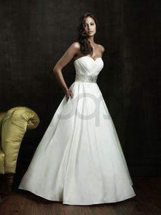 Ball Gown Taffeta Ruched Bodice Sweetheart Neckline Chapel Length Train Wedding Dresses (8802)