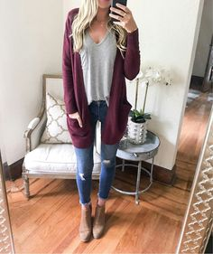 Plum cardigan and ripped jeans