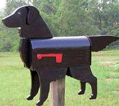 Flat Coated Retriever mailbox. Pin if you like it! :) #mailbox #creativity