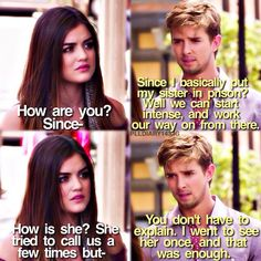"""""""Over a Barrel"""" - Aria and Jason Preety Little Liars, Pretty Little Liars Quotes, Pretty Little Liars Seasons, Pll Quotes, Movie Quotes, Abc Family, Family Show, Aria And Jason, Van Acker"""
