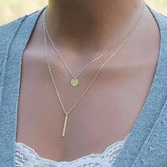 NEW Gold Tone Double Layer Necklace NEW Gold Tone Double Layer Hammered Disk and Link Necklace Jewelry Necklaces