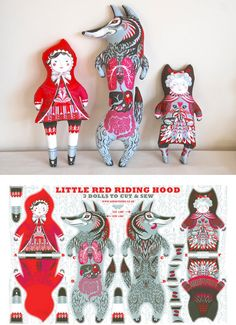 Get inspired by stitching your own set of fairytale dolls with this screen-printed tea towel kit. #etsy #DIY