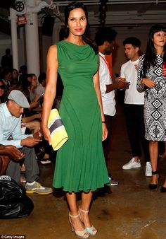 Green goddess: Padma Lakshmi looked stunning in an emerald dress at the Costello Tagliapietra fashion show at #NYFW http://dailym.ai/1pxbR1w