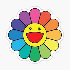 Printable Stickers, Cute Stickers, Kawaii Stickers, Jhope Flower, Murakami Flower, Rainbow Aesthetic, Takashi Murakami, Rainbow Flowers, Happy Flowers