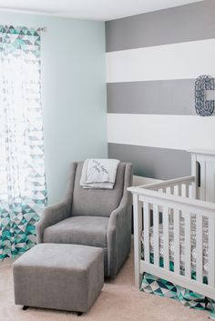 Modern Baby Boy Nursery - love the mix of patterns and cool colors in this sweet space!