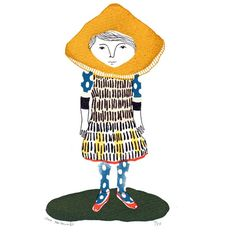 Miscaro Girl  gocco screen print  limited edition by fricdementol, $15.00