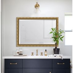 "Melissa Van Hise 29 in. x 41 in. Framed Gold Ornate Mirror --- 6"" EACH SIDE"