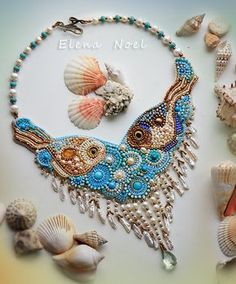 pearl necklace with two little fishes embroidered von ElenNoel