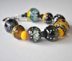 Black and Yellow Glass Bead Bracelet Artisan Lampwork by bstrung, $82.00
