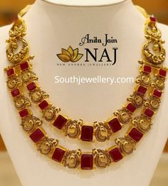 Two step peacock ruby necklace by Naj Jewellery photo Ruby Necklace, Ruby Jewelry, Bridal Jewelry, Silver Jewelry, Jewellery Earrings, Choker Necklaces, India Jewelry, Temple Jewellery, Collar Necklace