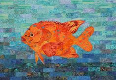 """Juvenile Garibaldi"", 16"" x 24"", by Ingrid Cattaneo. Mountain Art Quilters: September 2015 Show and Tell."