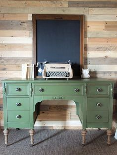 Antique Desk Painted with Miss Mustard Seed's Milk Paint in Boxwood Green by Cotton Seed Designs for Carver Junk Company | Carver, MN and Minneapolis, MN | Locally handpainted furniture