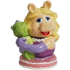 Miss Piggy the Pig Hugging Kermit the Frog Ceramic Cookie Jar